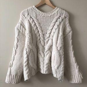 Chunky Cream Oversized Knit | Zara